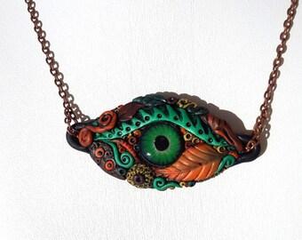 Polymer Clay Pendant, Protection Eye Necklace, Eye Pendant