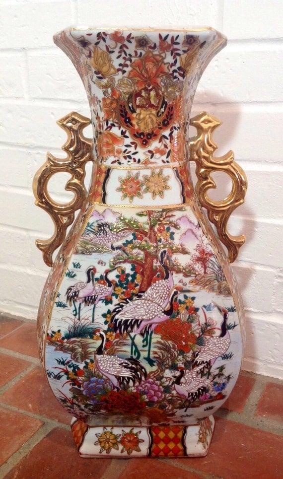 Vintage Chinese Satsuma Large Porcelain Vase By