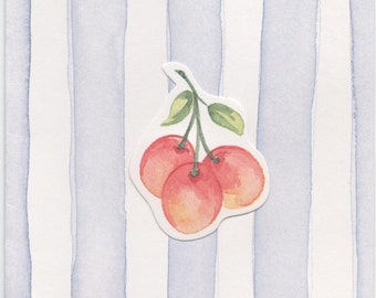 Used Blank Card, Fruit on violet and white striped background, good shape, c1980