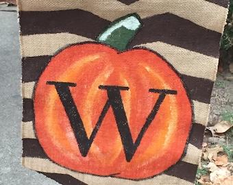 Handpainted Pumpkin Burlap Garden Flag with Initial