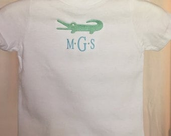 Boys Cusrom Embroidered Monogram Alligator t shirt 100% cotton, Personalized with love