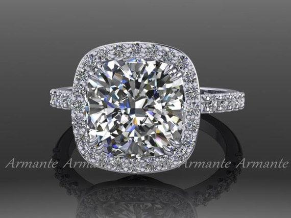 Moissanite Engagement Ring 14k White Gold Diamond Wedding