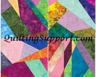 Crazy Patch Set 3 Paper Foundation Piecing Quilting 4 Block Patterns PDF