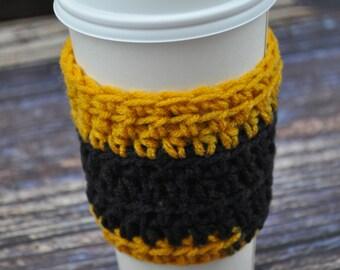 Coffee Cup Sleeve- Gold- Black- Hawkeyes