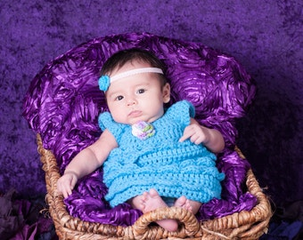 Blue Baby Dress - Flower- Ruffle