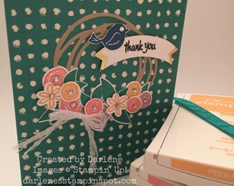 Stampin' Up! Handmade Thank You card using Swirly Bird and 2016-2018 In Colors Painter's Palette DSP