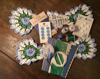 Vintage Light Blue and Kelly Green Sewing Supplies and Found Treasures