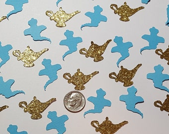 Aladdin Inspired Paper Confetti, Table Scatter, Genie Lamp- Birthday, Wedding, Genie-Lamp-Magic Lamp, Scrapbook Embellishments Decorations