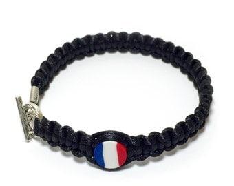 France Flag 2mm Satin Cord bracelet Macrame Collection, Patriotic, French,