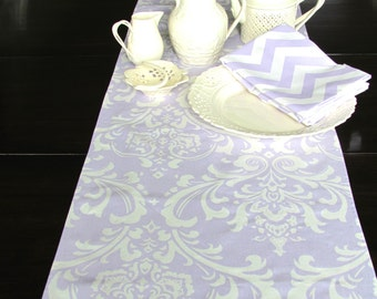 LAVENDER TABLE RUNNER 12 X 48 Lavender Damask Table Runners Wedding Showers  Decorative Damask Table Runner