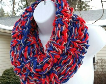 Infinity Scarf, Long Scarf, Blue Scarf, Red Scarf, Multi Color Infinity Scarf, SCARF SALE, New England