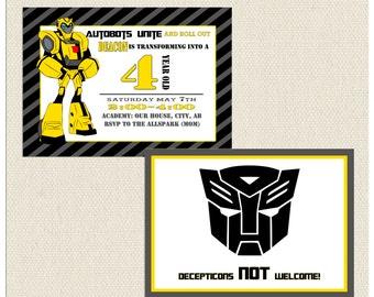 autobots invitation etsy. Black Bedroom Furniture Sets. Home Design Ideas