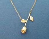 Gold, Rose, Necklace, Flower, Necklace, Valentine, Birthday, Mother's day, Friendship, Gift, Accessories, Jewelry