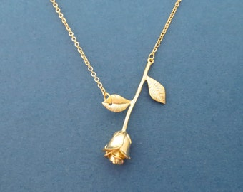 Beautiful, Gold, Rose, Necklace, Flower, Necklace, Lovers, Best friends, Birthday, Friendship, Sister, Gift, Jewelry