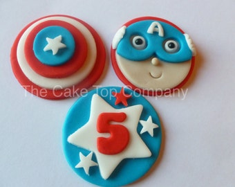 Captain America Cupcake Toppers - Fondant Superhero Fondant Decorations Handmade to Order in the UK
