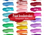 Clipart paint strokes smear banners. Digital hand painted oil strokes, banners, background for logo clip art. Instant download. PNG format.