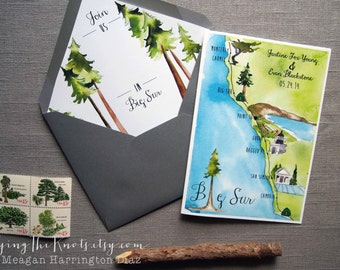 Big Sur Invitations - Custom Wedding Program - 4 page wedding program - Custom Watercolor Wedding Map