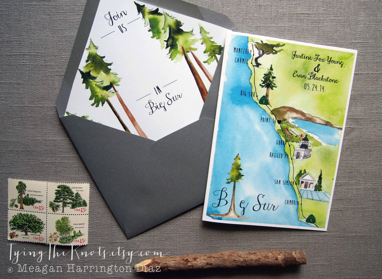 big sur invitation custom wedding invitations Big Sur Invitations Custom Wedding Program 4 page wedding program Custom Watercolor Wedding Map