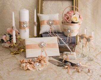 Rose Gold Flower Girl Basket Set Wedding Ring Pillow Guest Book Garter Set Champagne Toasting Flutes Cake Serving Set Unity Candles Set