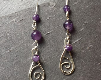 Sterling Silver Filigree and Amethyst Earrings