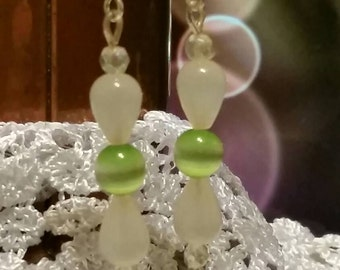 White Tear Drop and Light Green Iridescent Bead Earrings