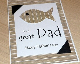 Happy Birthday OR Father's Day card - fish - fishing - any age dads male son father fisherman fishing - handmade greeting card