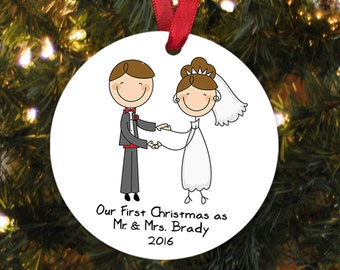 Our First Christmas Ornament - Personalized Wedding Gift Christmas Ornament - Wedding Christmas Ornament - Newlywed Christmas Gift