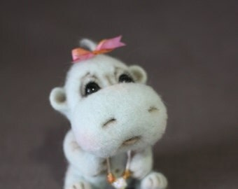 Needle Felted baby blue Hippopotamus - Soft Sculpture