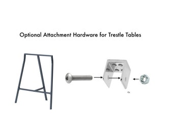 Optional Attachment Kit for Ikea Lerberg Trestles. Kit contains 4 brackets, etc. to attach BOTH legs to any solid tabletop.