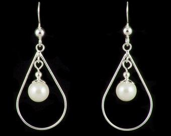 Silver Pearl Teardrop Earrings, Pear Drop Earrings, Sterling Silver Earrings