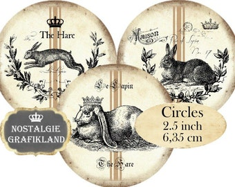 Circles 2.5 inch Vintage Hare Easter Lapin Lievre Instant Download digital collage sheet C105 Pâques Bunnies