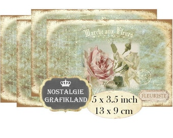 Shabby Chic Roses Marche aux Fleurs French Roses Flowers Instant Download digital collage sheet P134 Flower Market