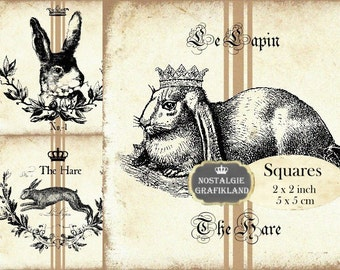 Hare Rabbit Lapin Easter Squares 2x2 inch squares Instant Download digital collage sheet TW120 grain sack