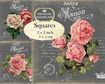 Chalkboard French Maison Roses Squares 2x2 inch Download digital collage sheet TW146 Redoute Victorian Rose