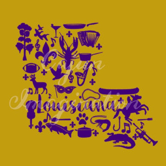 Louisiana Silhouette Cut File and Printable SVG Commercial