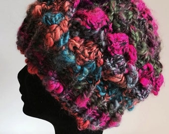 Crochet chunky hat in pink/turquoise multi