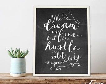 Dream Chalkboard Print College Dorm Wall Art INSTANT DOWNLOAD 8x10 Printable Inspirational Quote, Motivational, Graduation Gifts Calligraphy