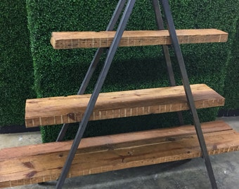 Reclaimed wood and steel shelves