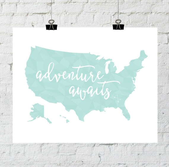 Adventure Awaits Geometric Printable Art Typography Art Print Typography Poster United States Map Art Print World Map Art  World Map Print