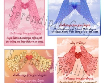 4 Angel Cards With Sayings. (DOWNLOAD)