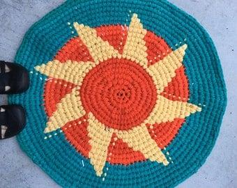 Turquoise, Coral and Yellow Crocheted, Round Handmade Sunshine Rug