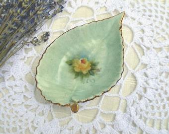 Vintage Porcelain Hand Painted Leaf Tray