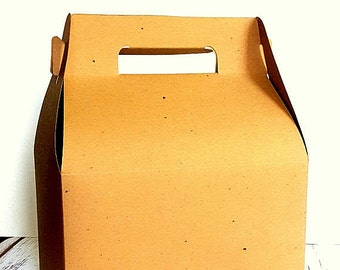 "12 Large Natural Kraft Gable Gift Boxes, Wedding Guest Welcome Box 9"" x 5"" x 5"", Party Favor Box, Picnic Meal Boxes"