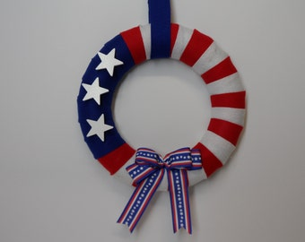 Patriotic Wreath, 4th of July Door Wreath, USA Wreath, 4th of July Holiday Wreath, Felt Wreath, Red White and Blue Wreath Patriotic Wreath