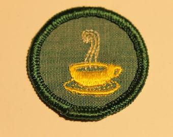 Vintage Girl Scout Merit Badge (1) - Tea Coffee Achievement teacup