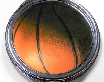 Basketball Inset Metal Compact Makeup Mirror Case MEN-0034