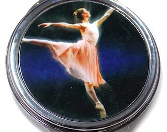 Ballerina Inset Metal Compact Makeup Mirror Case MEN-0031