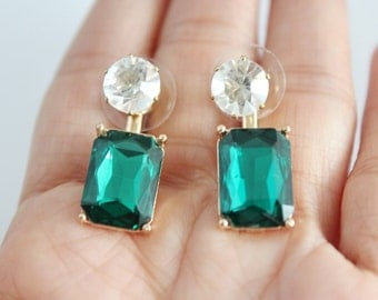 Emerald green crystal glass double sided drop earrings, green crystal drop earrings, glam earrings, green crystal ear jackets