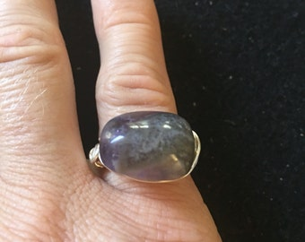 Amethyst wire wrapped ring in silver size 6 & 1/2