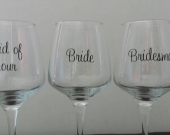 Bridesmaid bride maid of honour decal/ sticker diy gift thank you present wine champagne glass